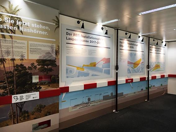 Infopavillon Zukunft Bahnhof Bern - Produktion, Bau und Montage diverser Gestaltungselemente / Konzept Agentur Zone B