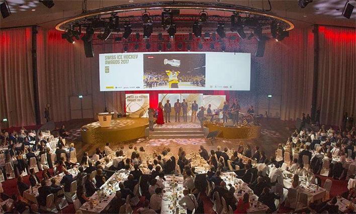 Swiss Hockey Awards - Goldener Bühnenbau mit Speakers-Desk, Agentur EVENTICUM AG